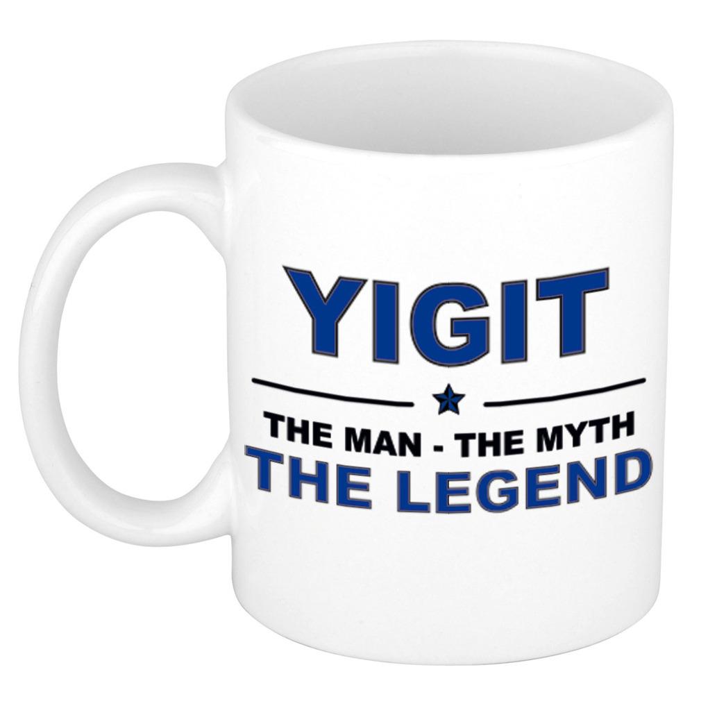 Yigit The man, The myth the legend pensioen cadeau mok/beker 300 ml