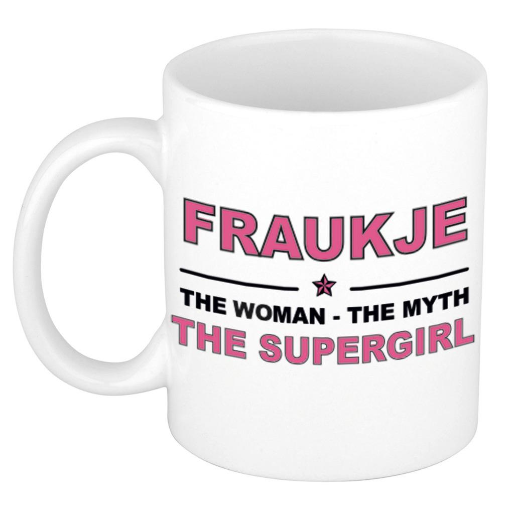 Fraukje The woman, The myth the supergirl pensioen cadeau mok/beker 300 ml
