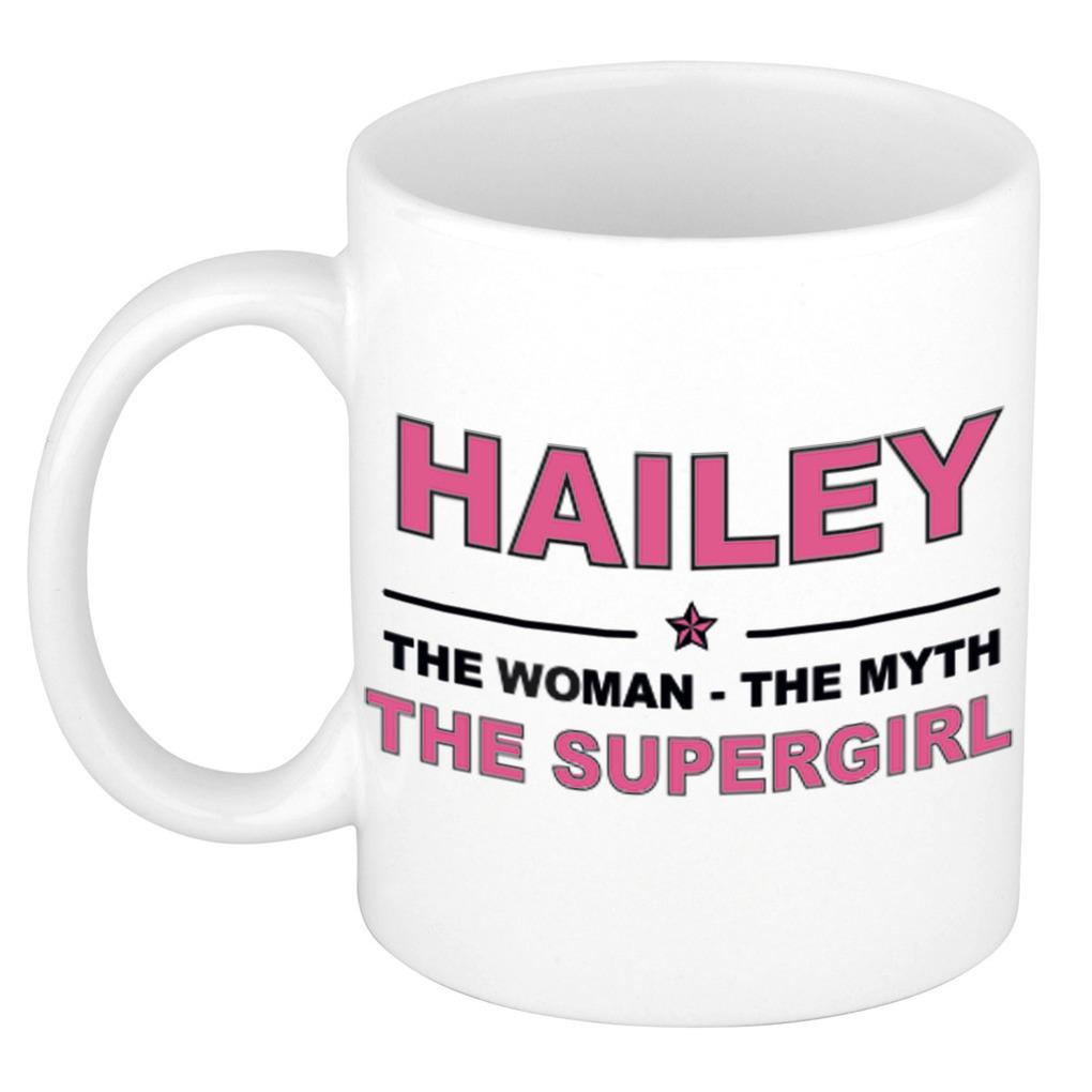 Hailey The woman, The myth the supergirl pensioen cadeau mok/beker 300 ml