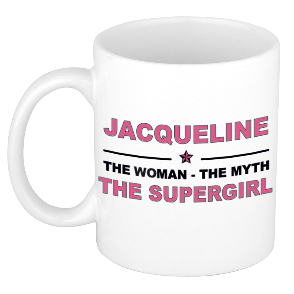 Jacqueline The woman, The myth the supergirl pensioen cadeau mok/beker 300 ml