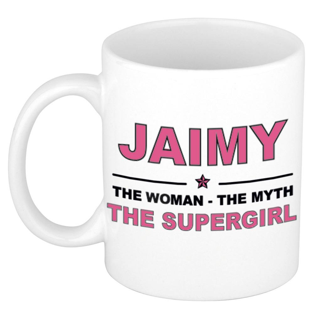 Jaimy The woman, The myth the supergirl pensioen cadeau mok/beker 300 ml