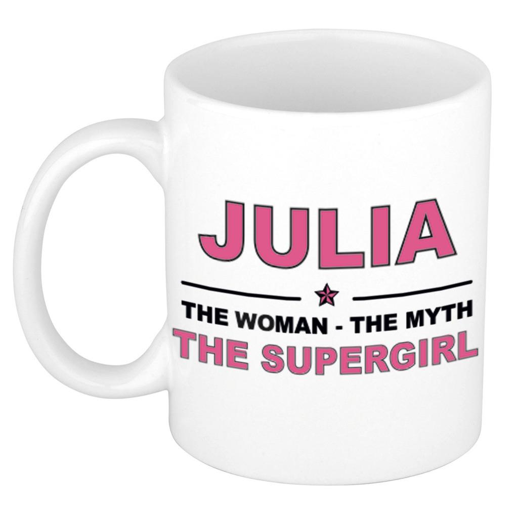 Julia The woman, The myth the supergirl pensioen cadeau mok/beker 300 ml