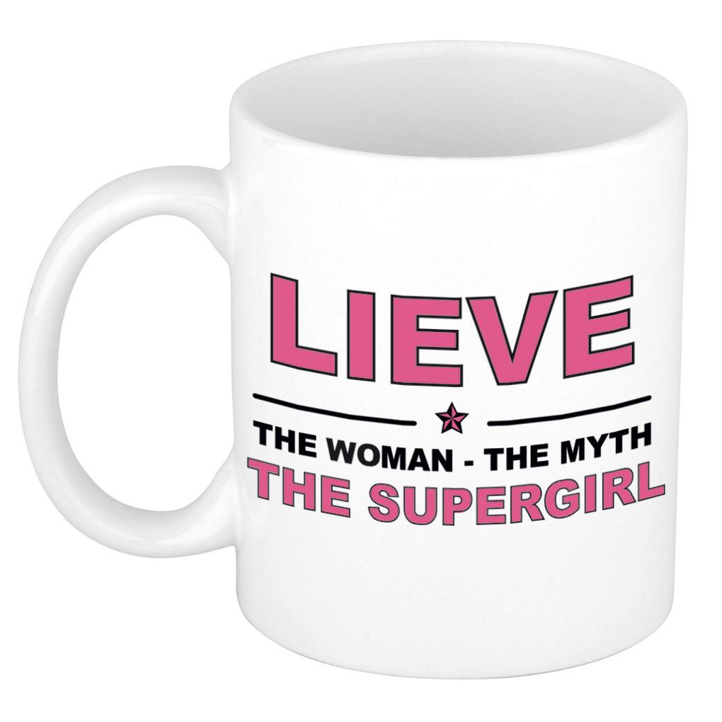 Lieve The woman, The myth the supergirl pensioen cadeau mok/beker 300 ml