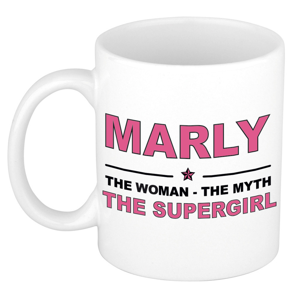 Marly The woman, The myth the supergirl pensioen cadeau mok/beker 300 ml