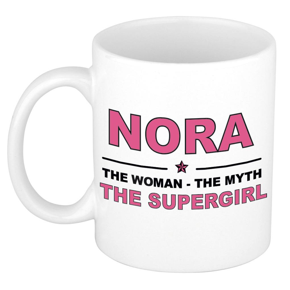 Nora The woman, The myth the supergirl pensioen cadeau mok/beker 300 ml