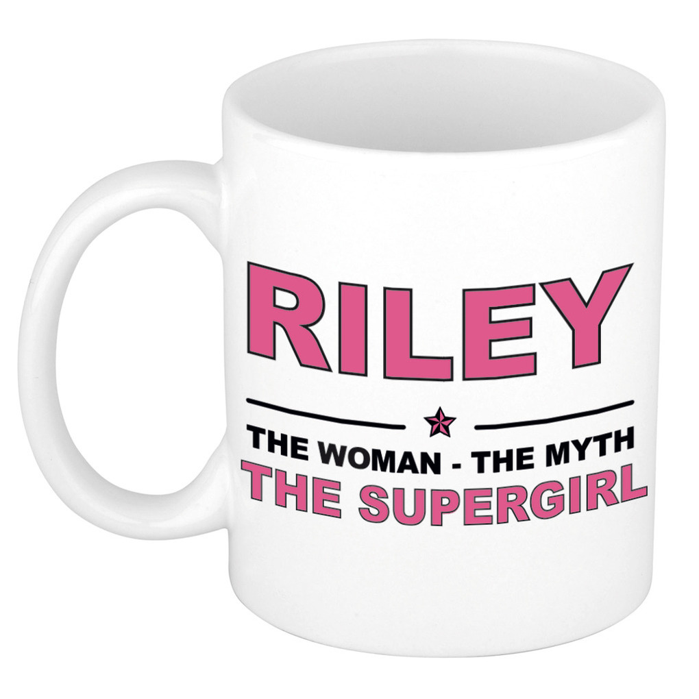 Riley The woman, The myth the supergirl pensioen cadeau mok/beker 300 ml