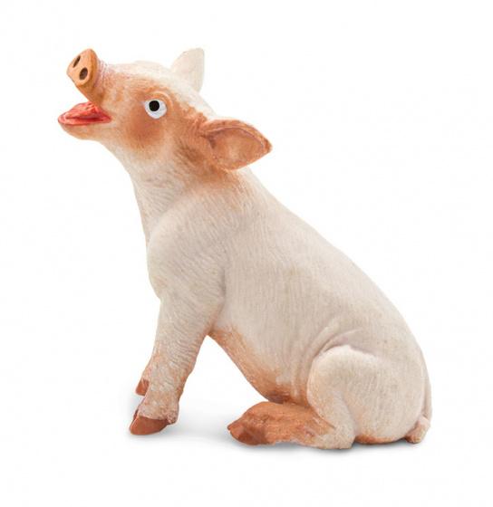 Safari biggetje zittend junior 4 cm rubber roze