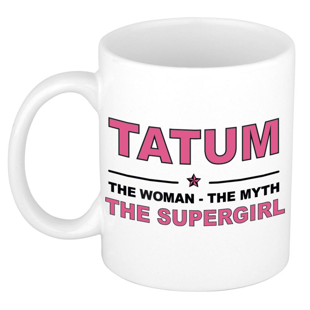 Tatum The woman, The myth the supergirl pensioen cadeau mok/beker 300 ml