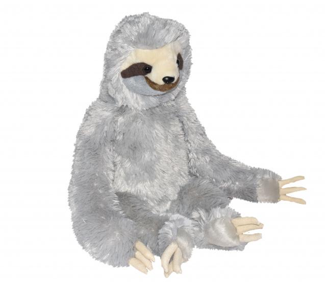 Wild Republic knuffel luiaard 38 cm pluche grijs
