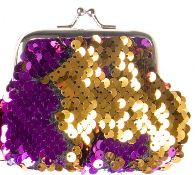 LG Imports zeemeermin portemonnee glitter 9 cm paars/goud