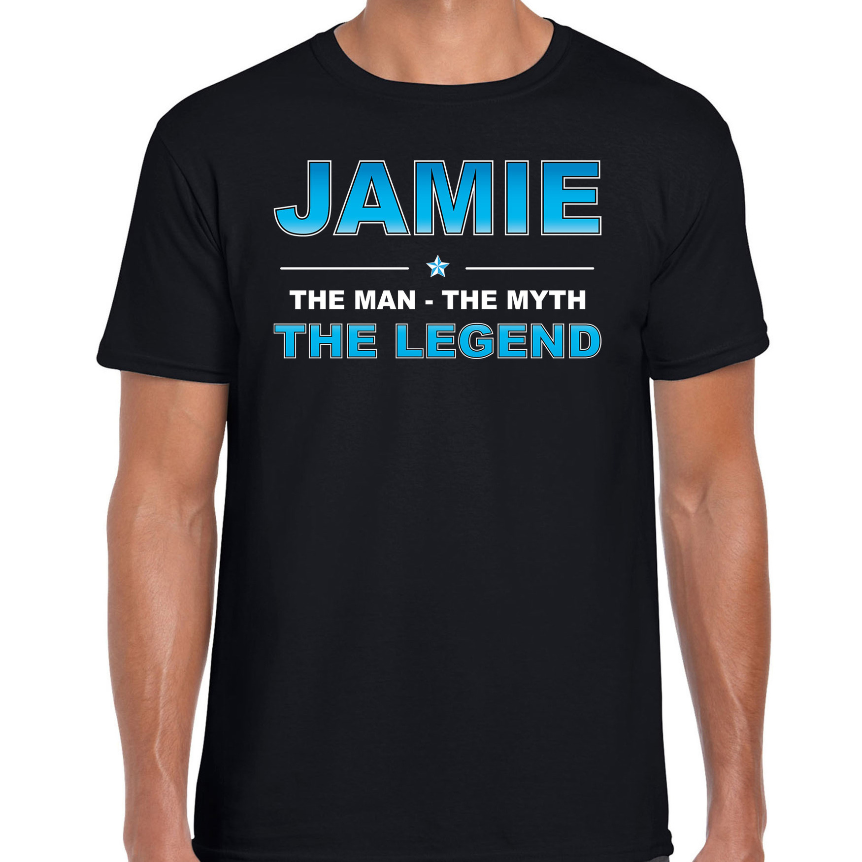 Naam cadeau t-shirt Jamie - the legend zwart voor heren