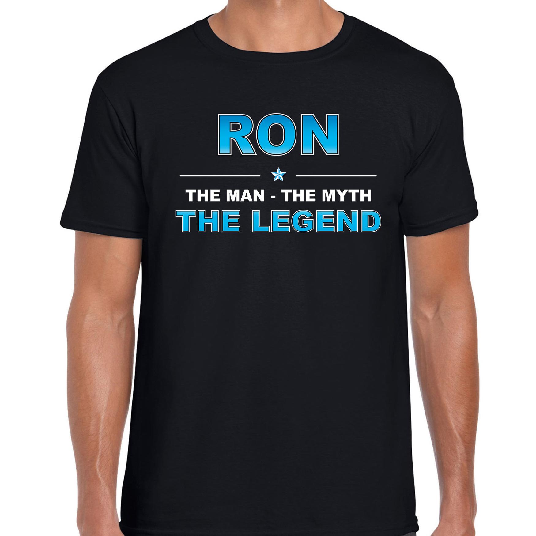 Naam cadeau t-shirt Ron - the legend zwart voor heren