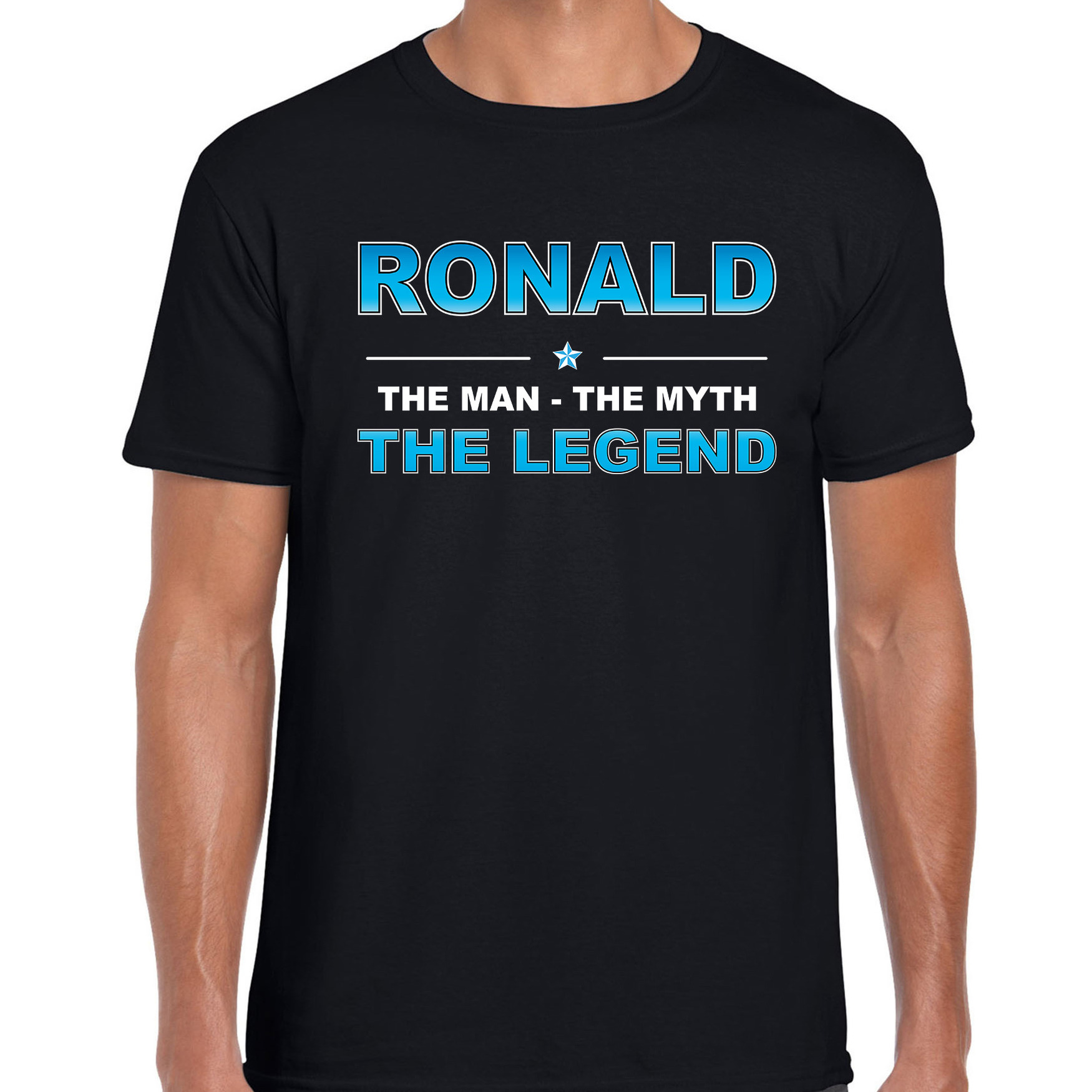 Naam cadeau t-shirt Ronald - the legend zwart voor heren
