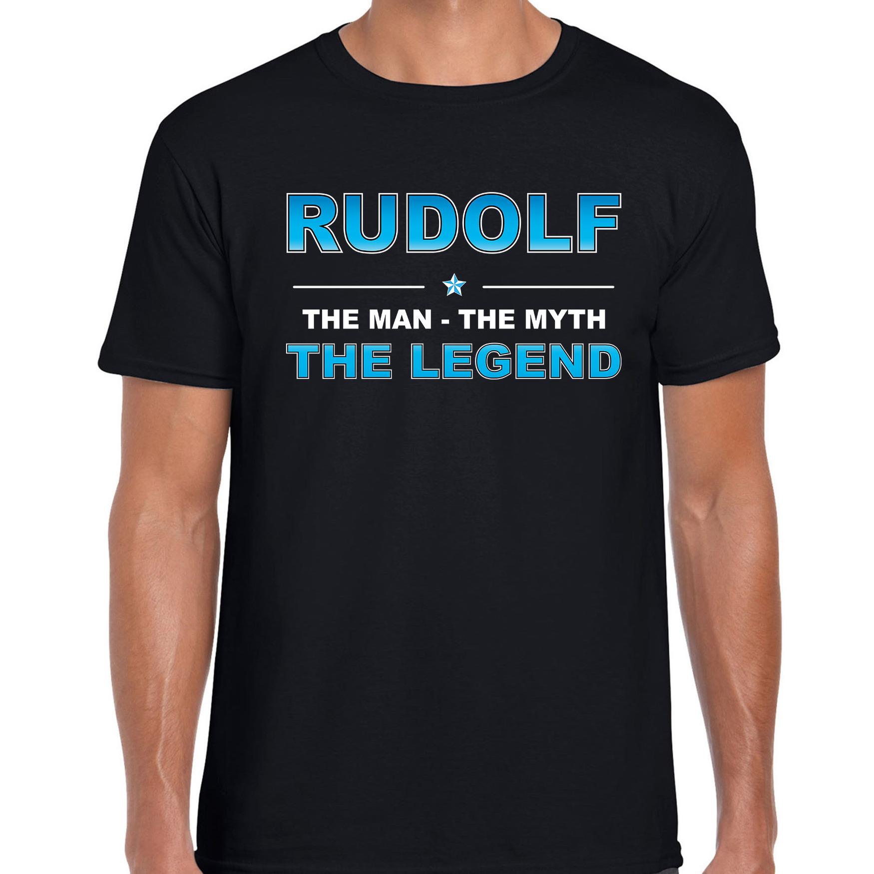Naam cadeau t-shirt Rudolf - the legend zwart voor heren