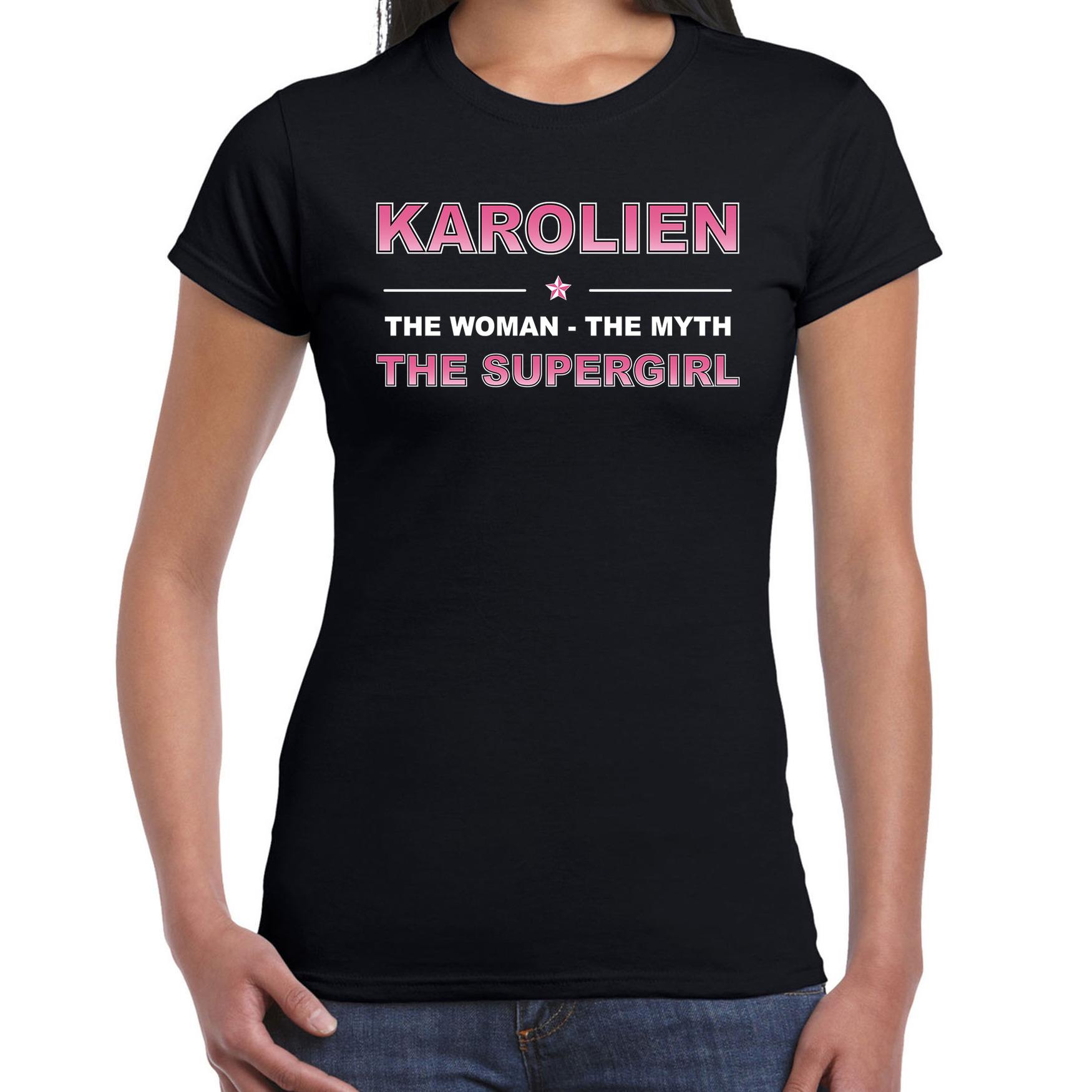 Naam cadeau t-shirt / shirt Karolien - the supergirl zwart voor dames