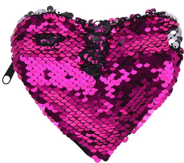 Free and Easy pailletten portemonnee hart roze/zilver