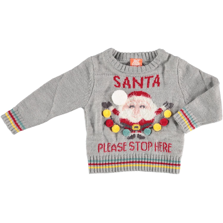 Grijze baby kersttrui/foute kersttrui Santa Please Stop Here