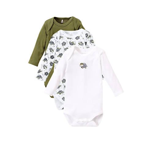 NAME IT BABY romper - set van 3 groen/wit/zwart
