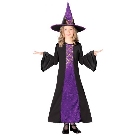 Paarse heksen jurk halloween kostuum kinderen