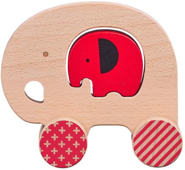 Petit Collage speelfiguur olifant junior 12 cm hout beige