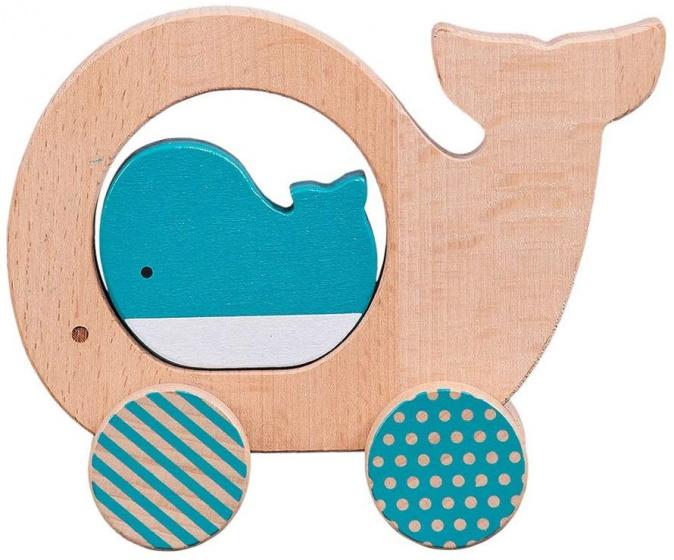 Petit Collage speelfiguur walvis junior 12 cm hout beige