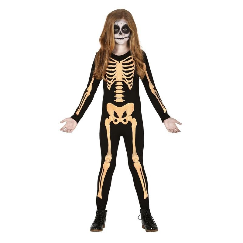 Zwart/oranje skelet verkleedpak voor kinderen kostuum