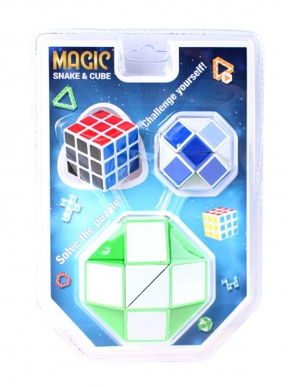 Johntoy puzzel Magische kubus en slang 3 delig groen