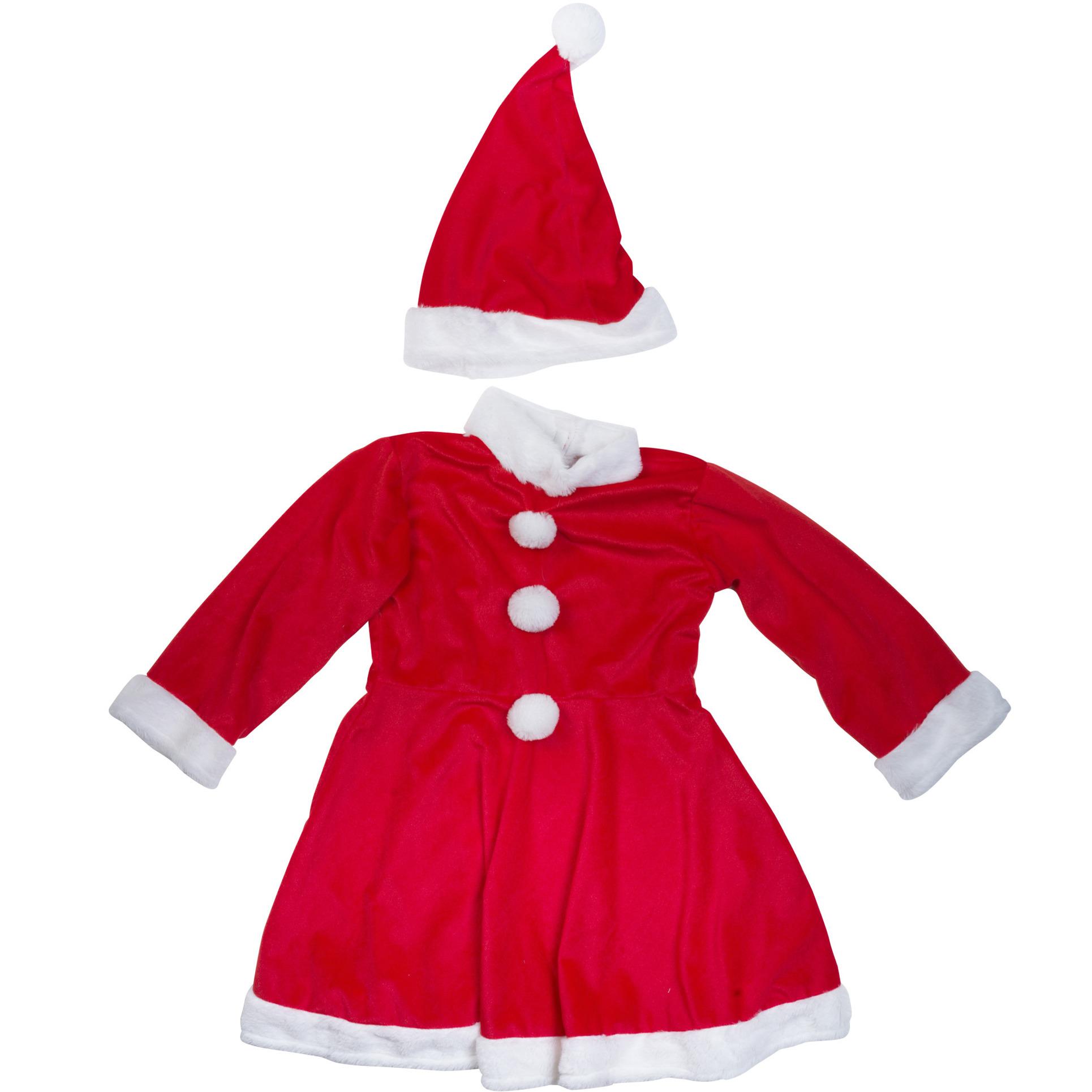 Kerstjurkje verkleed kostuum met muts voor meisjes