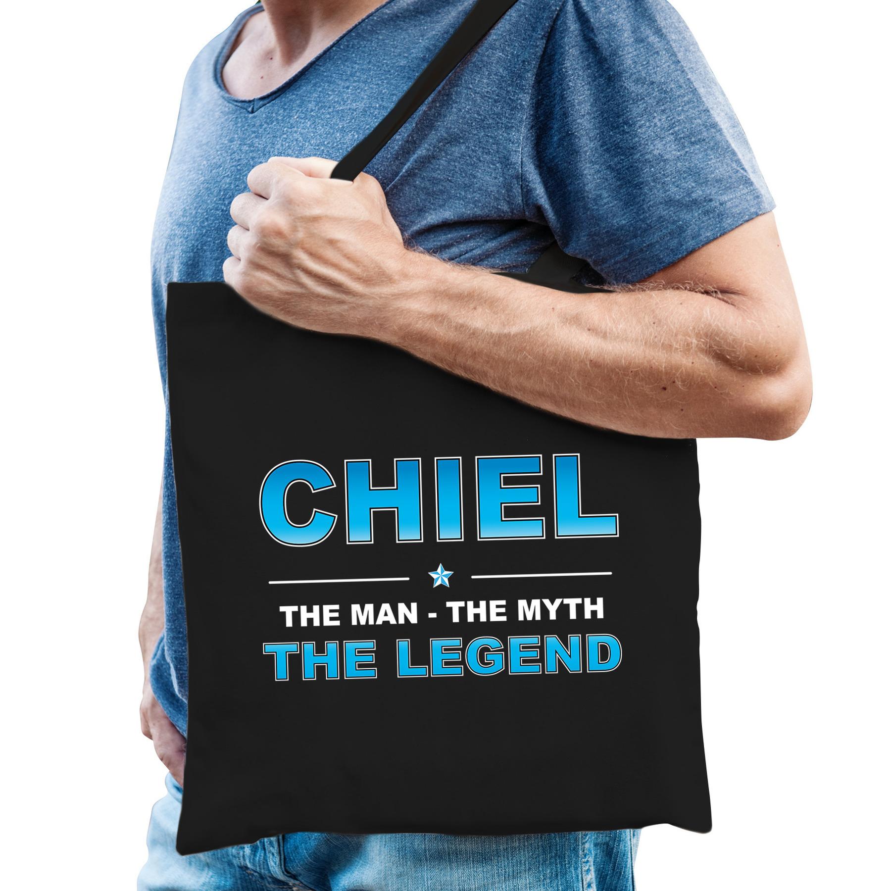 Naam cadeau tas Chiel - the legend zwart voor heren