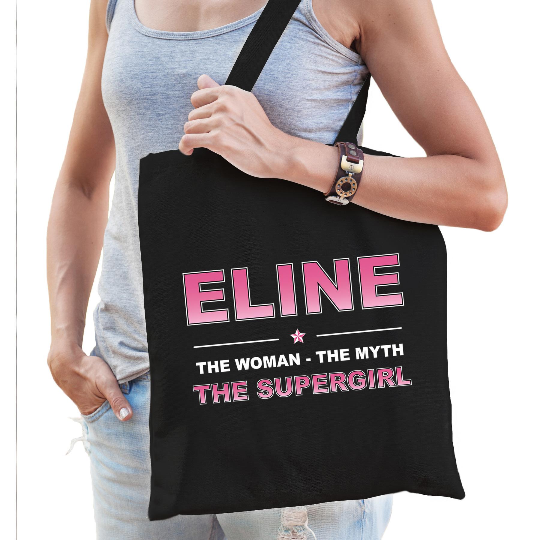 Naam cadeau tas Eline - the supergirl zwart voor dames