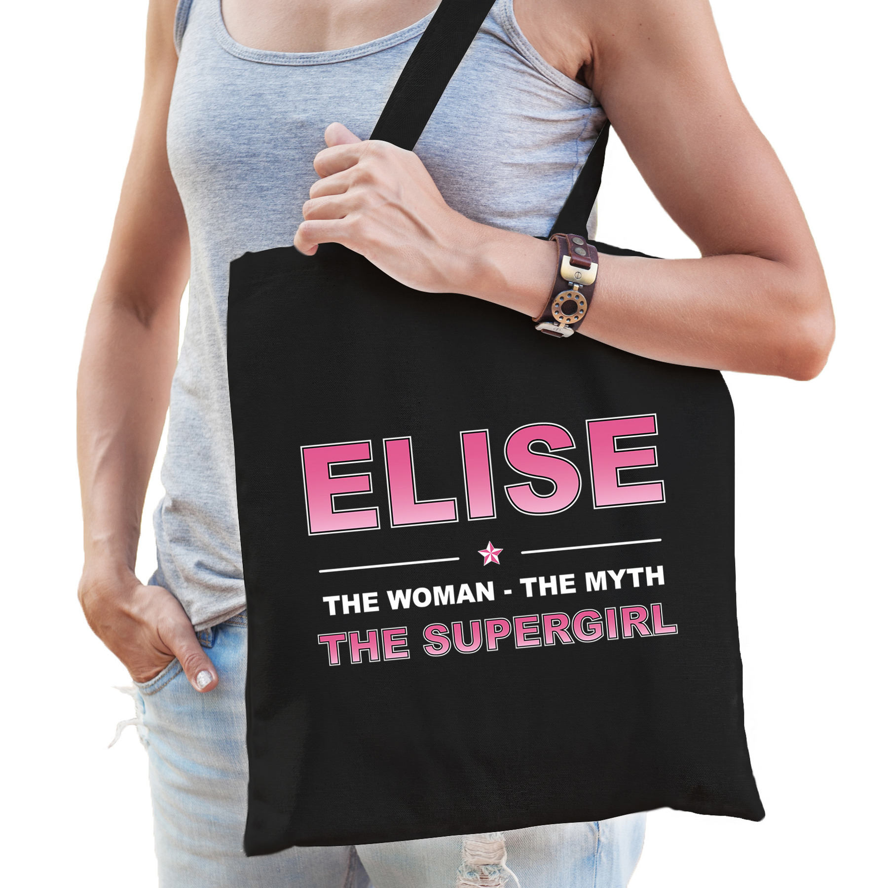 Naam cadeau tas Elise - the supergirl zwart voor dames