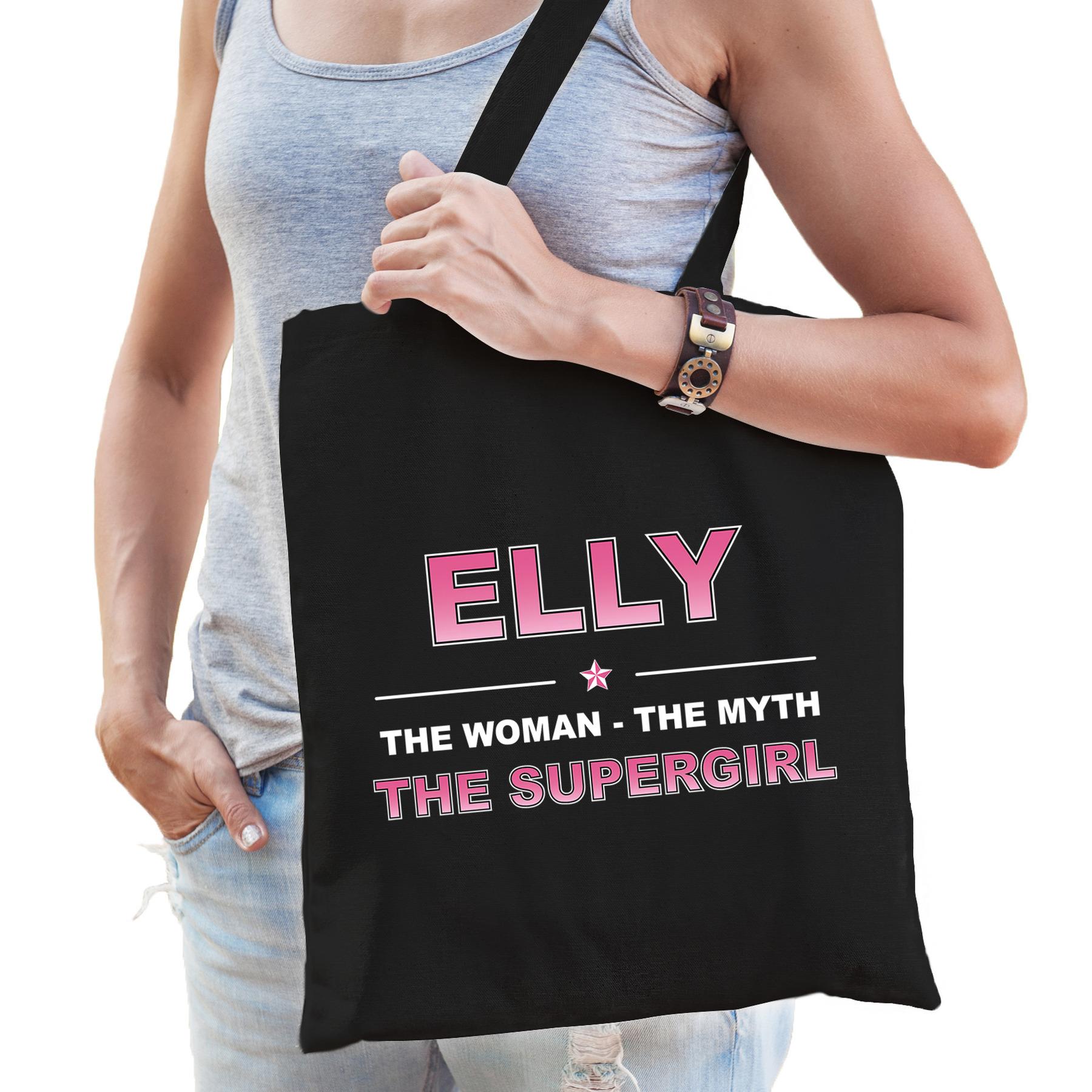 Naam cadeau tas Elly - the supergirl zwart voor dames