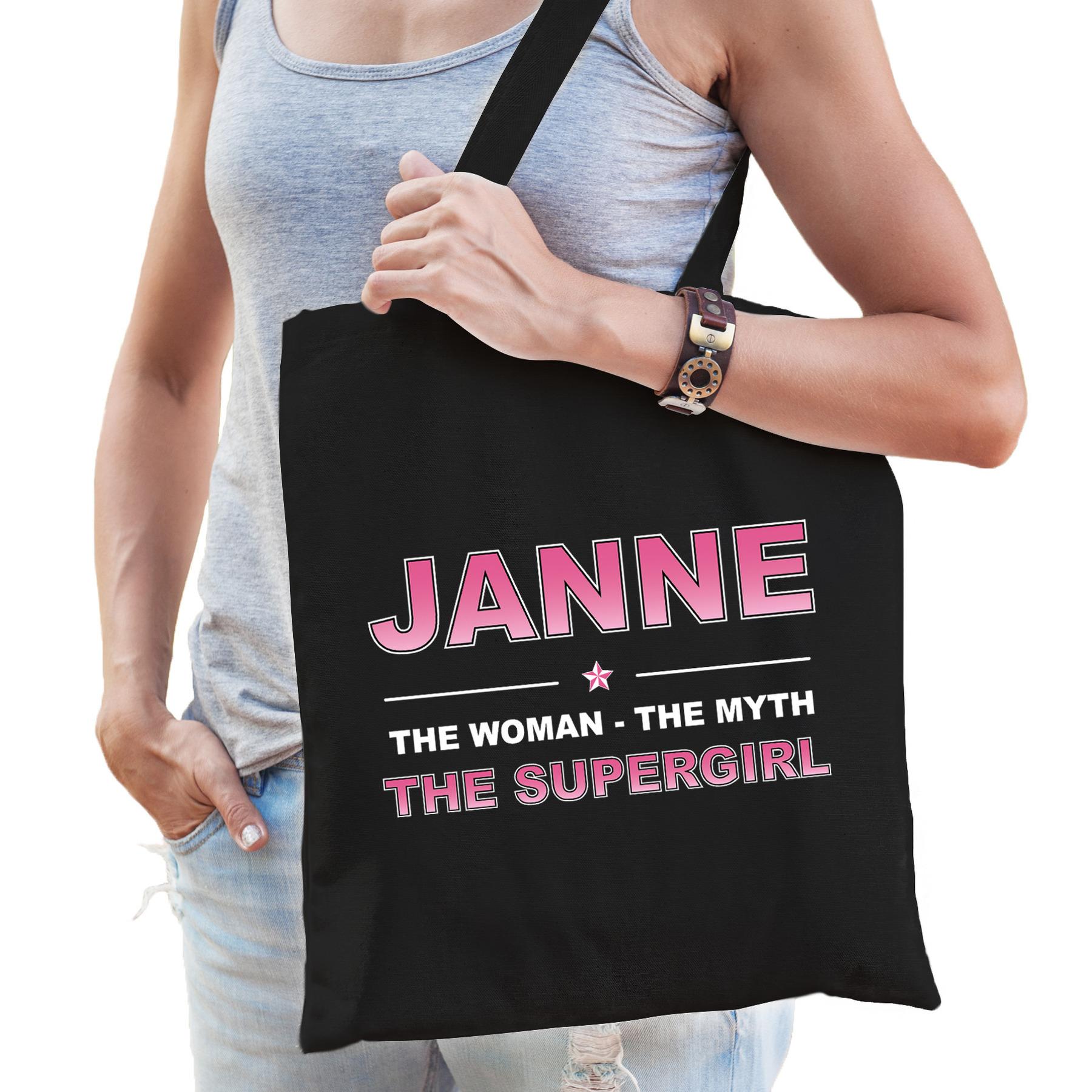 Naam cadeau tas Janne - the supergirl zwart voor dames