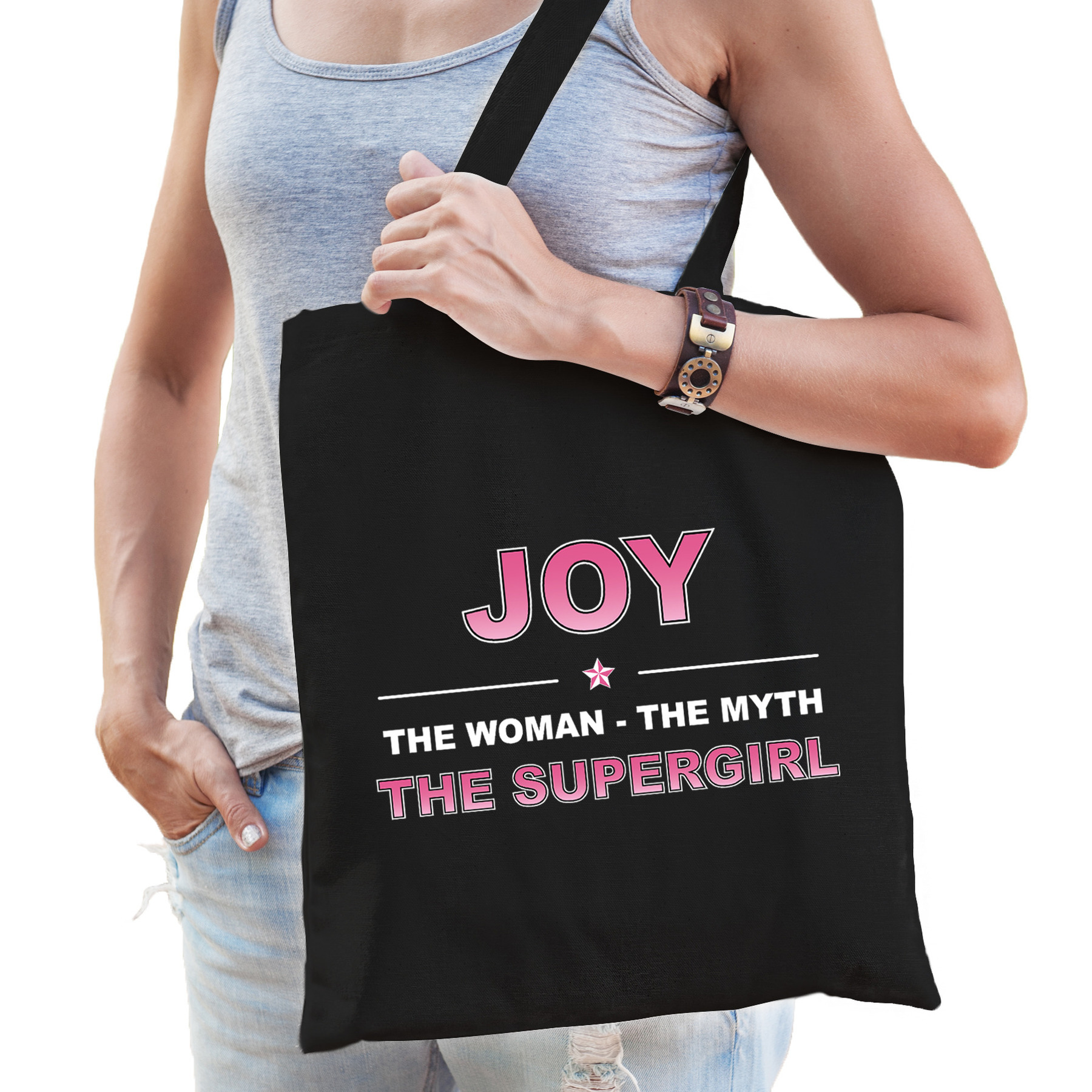 Naam cadeau tas Joy - the supergirl zwart voor dames