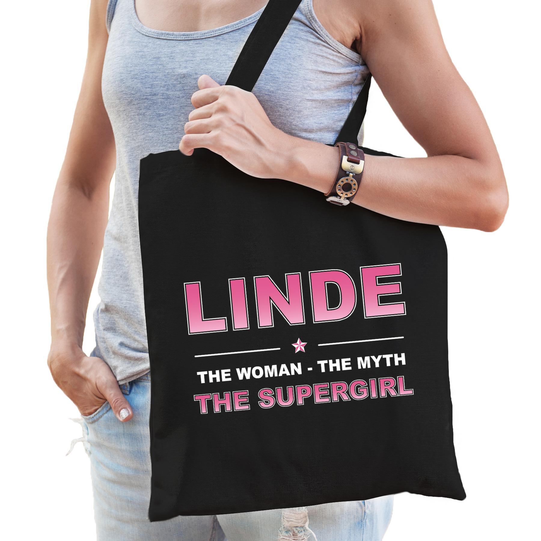 Naam cadeau tas Linde - the supergirl zwart voor dames