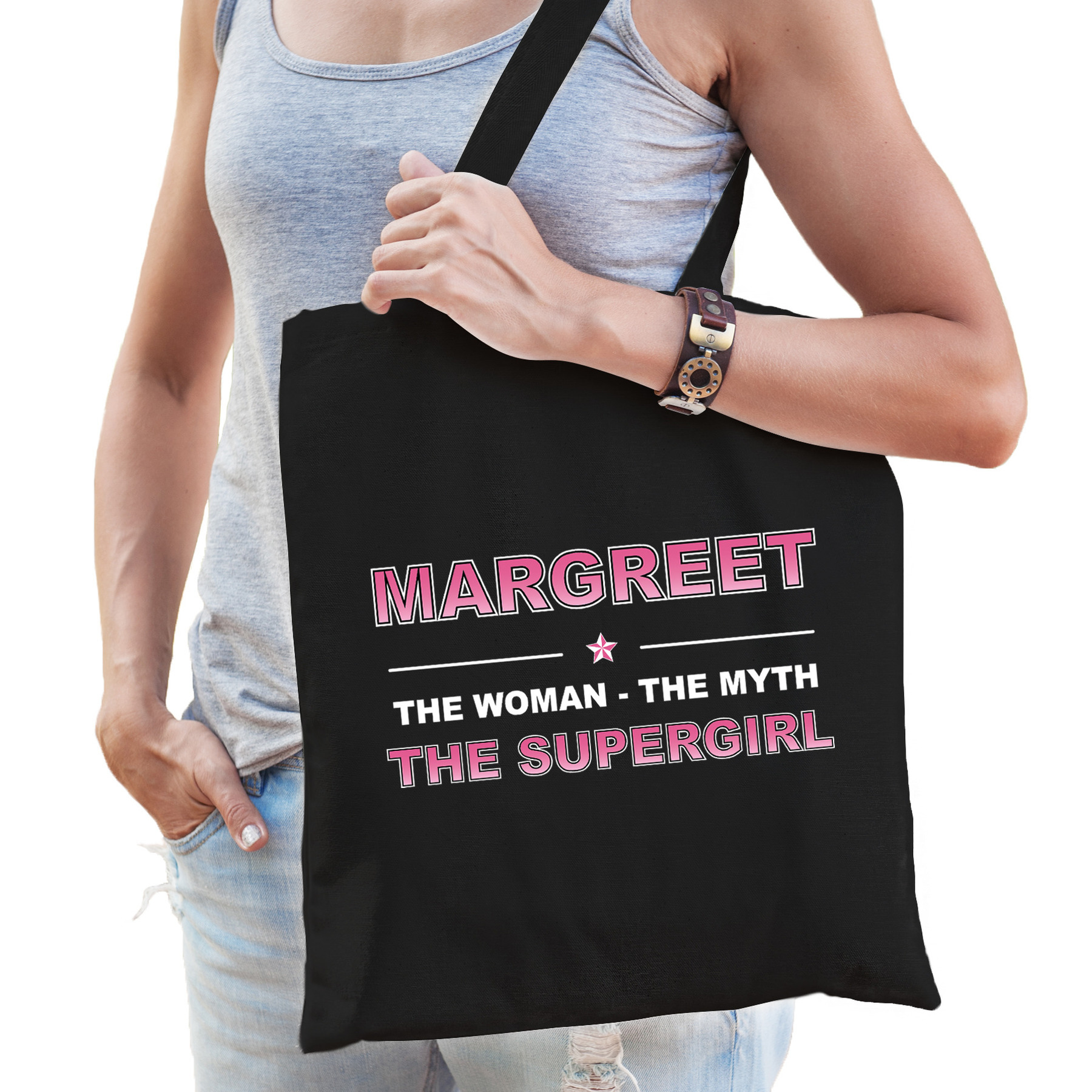 Naam cadeau tas Margreet - the supergirl zwart voor dames
