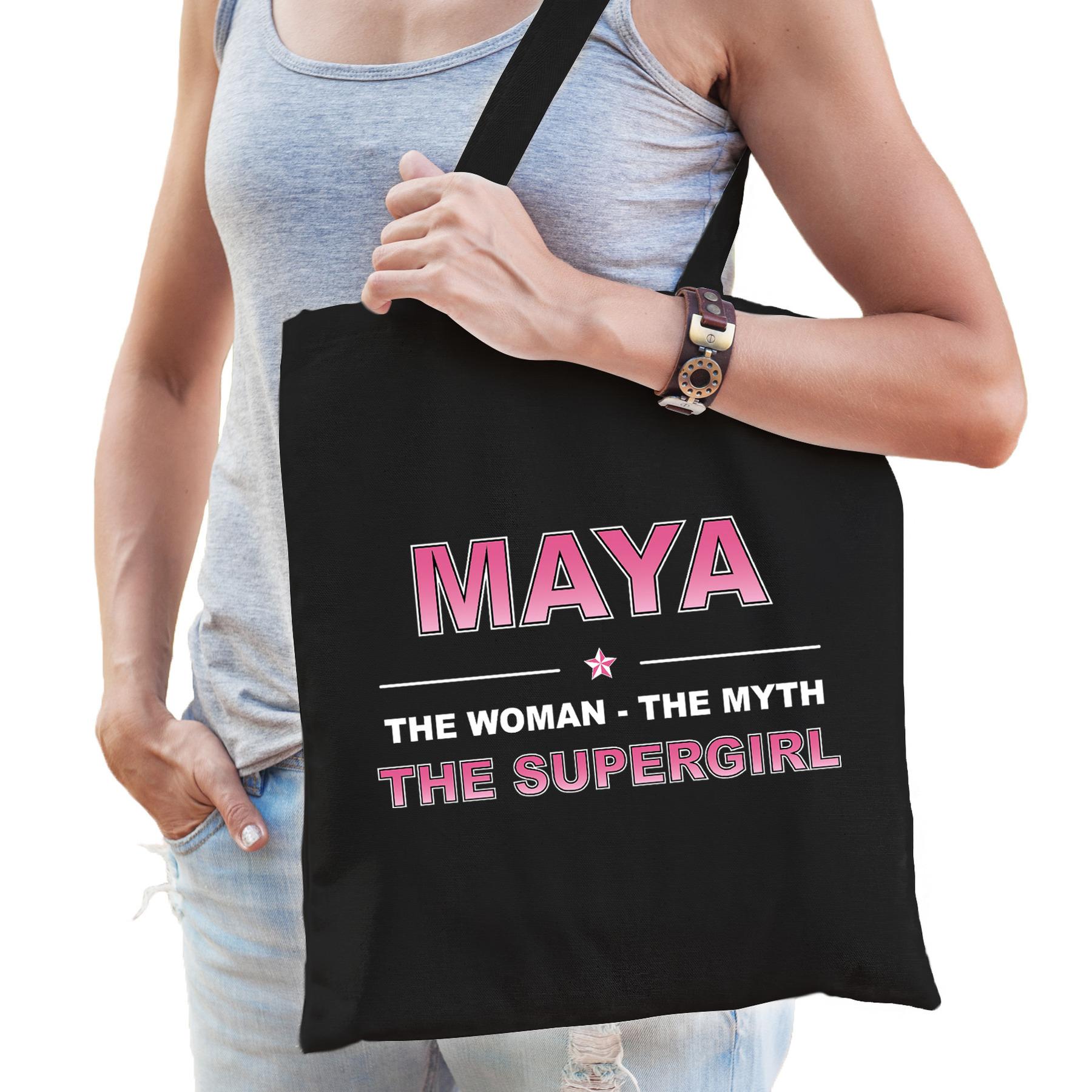 Naam cadeau tas Maya - the supergirl zwart voor dames