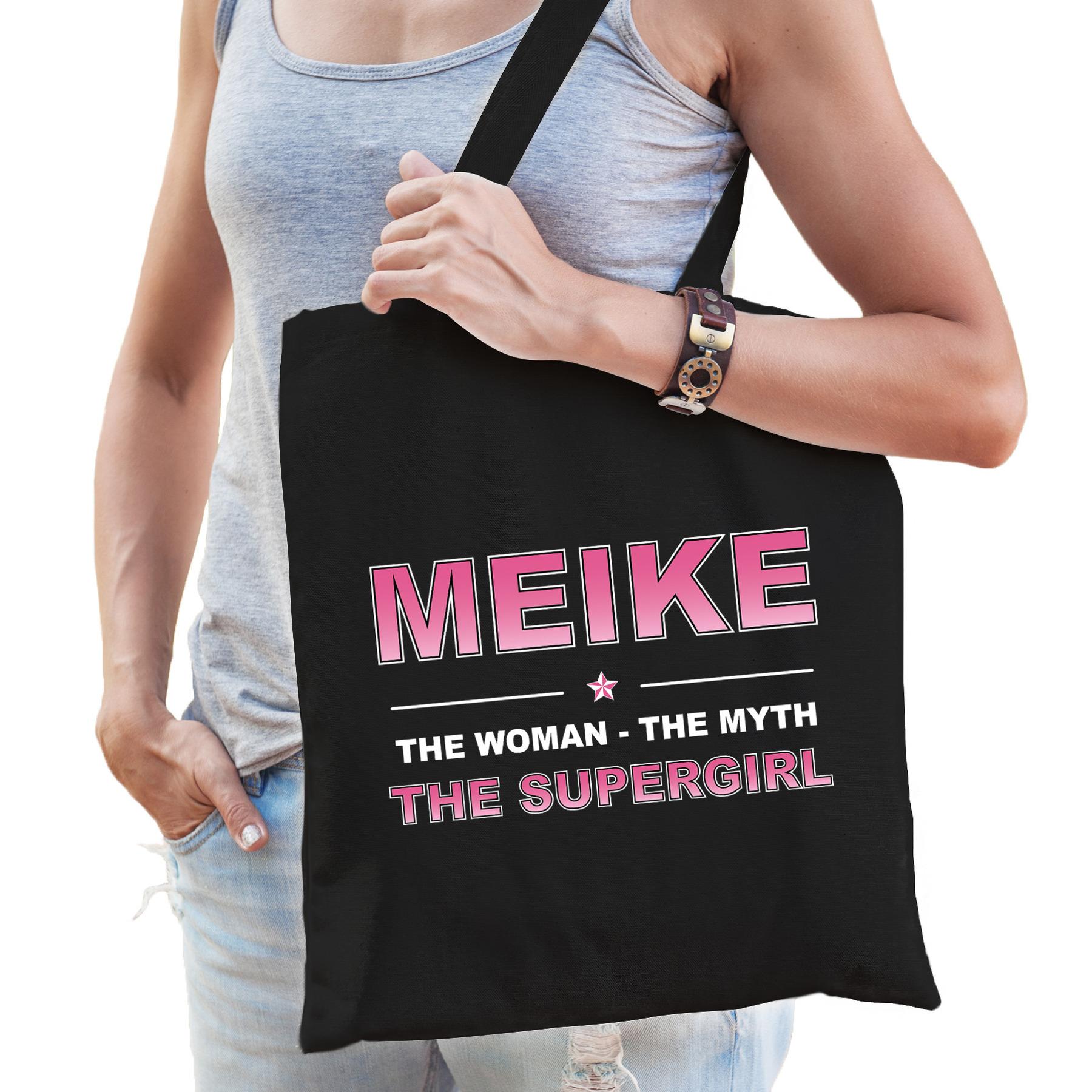 Naam cadeau tas Meike - the supergirl zwart voor dames