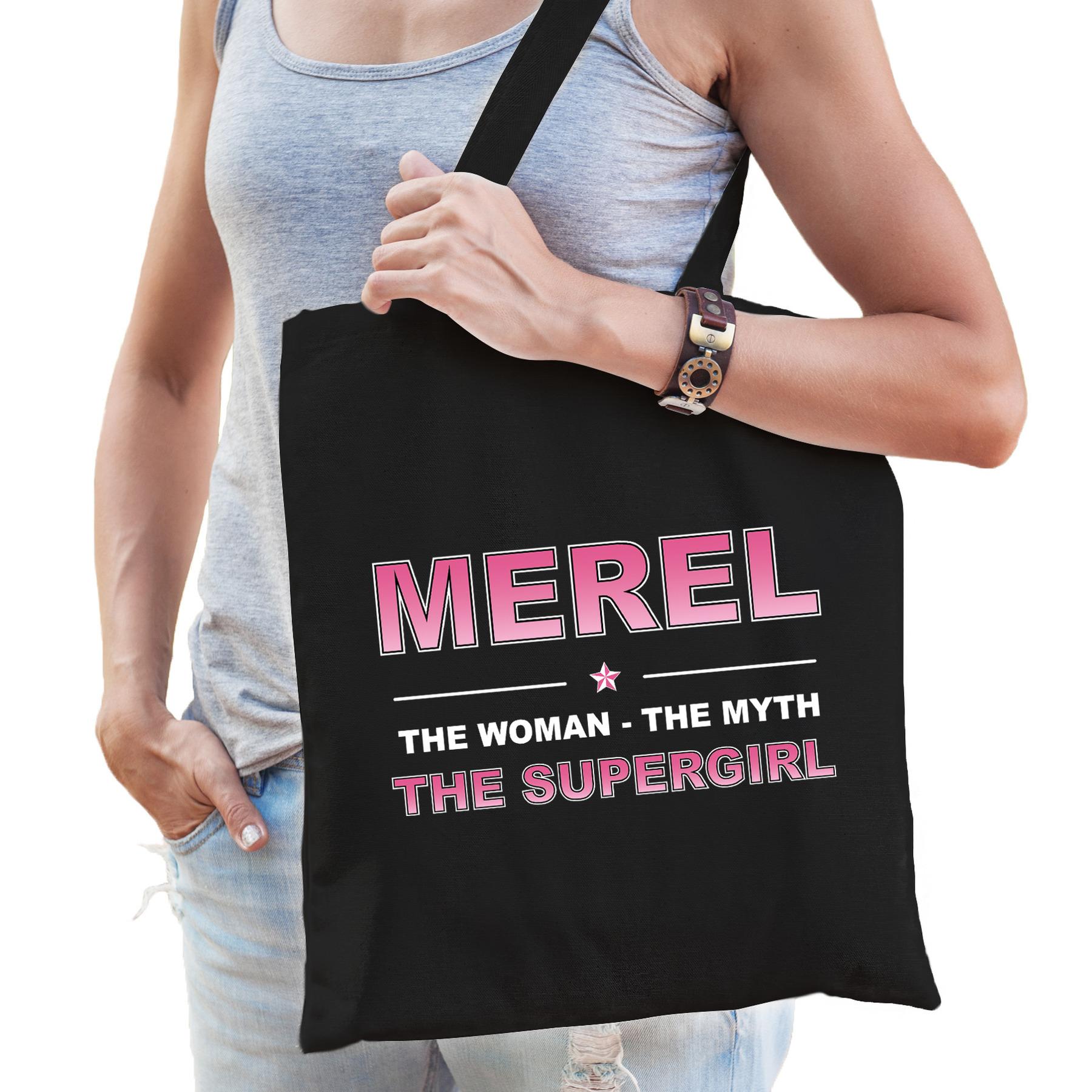 Naam cadeau tas Merel - the supergirl zwart voor dames