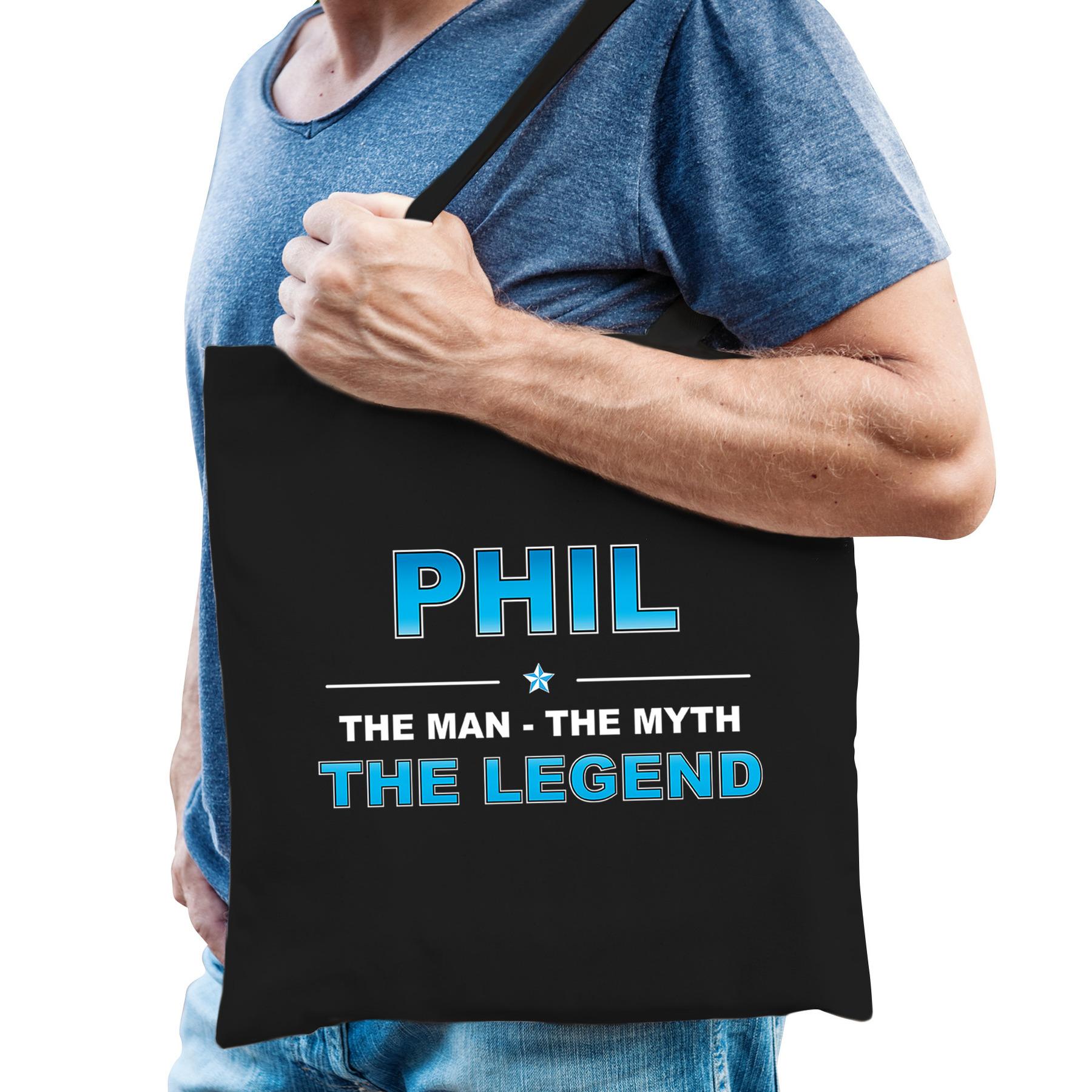 Naam cadeau tas Phil - the legend zwart voor heren