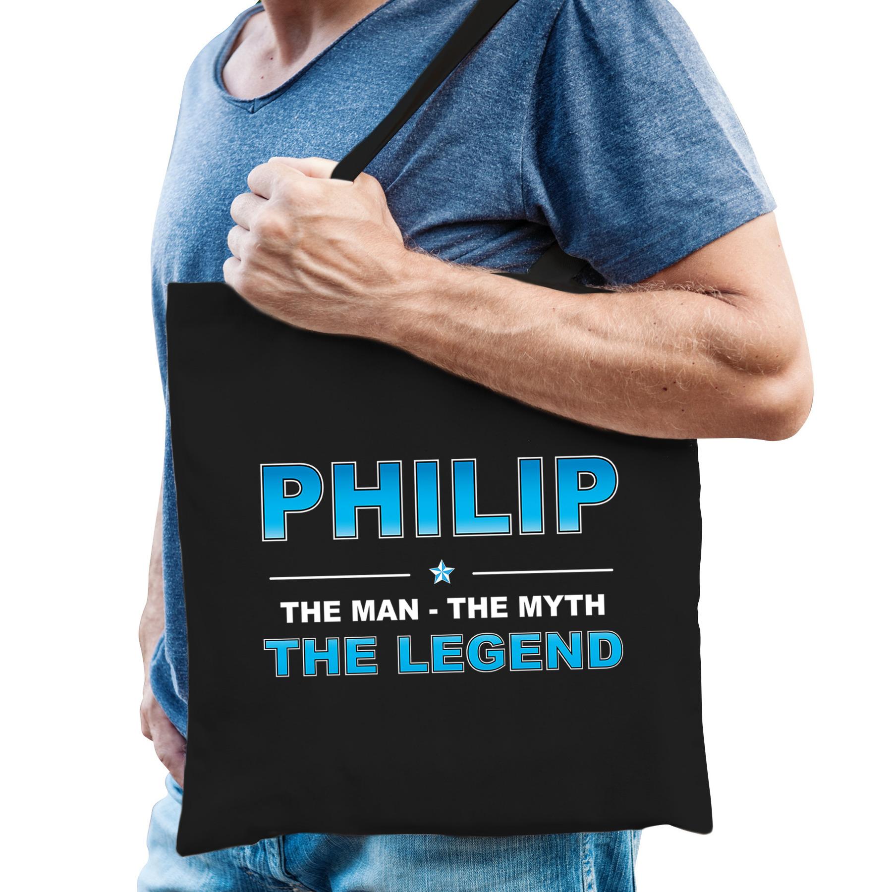 Naam cadeau tas Philip - the legend zwart voor heren