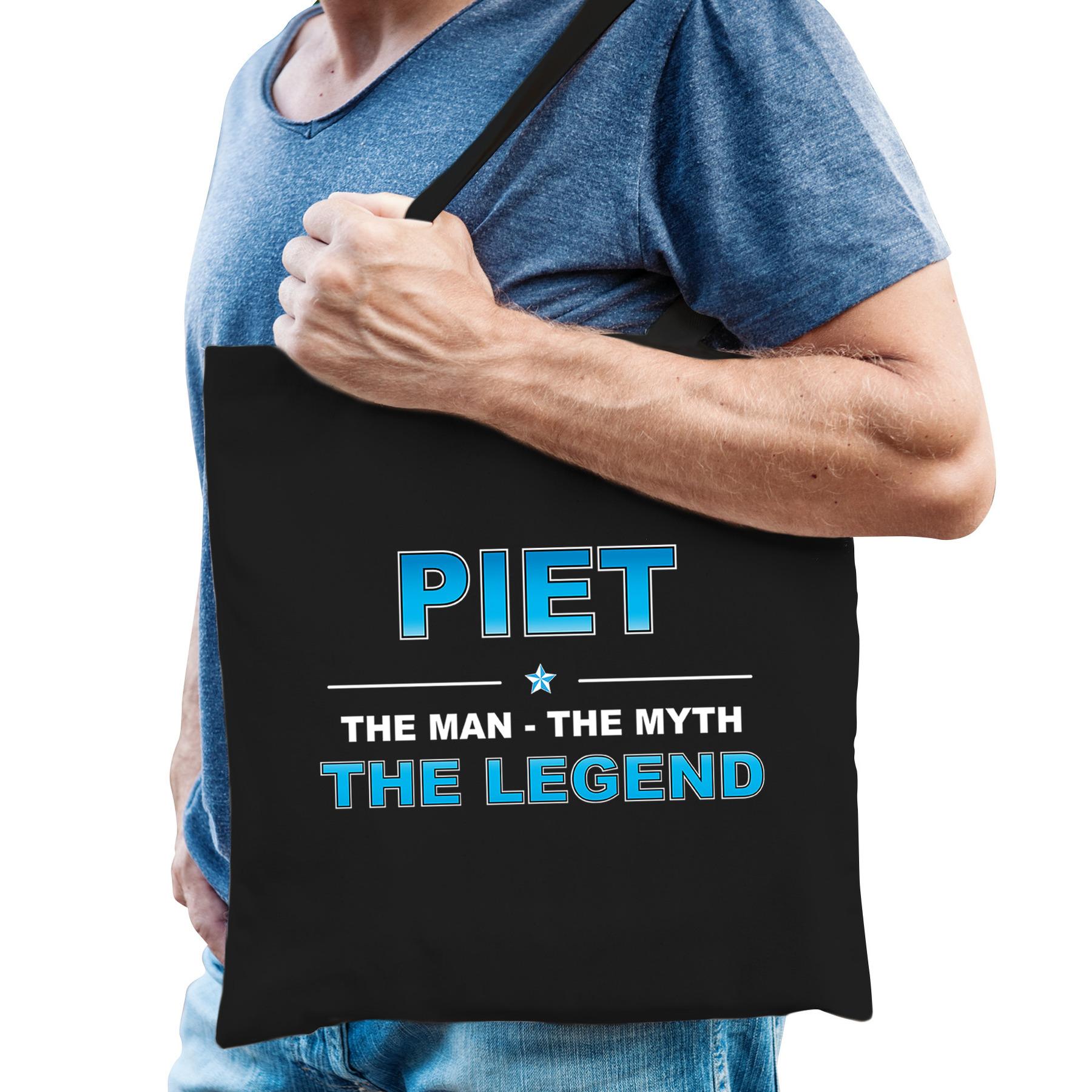 Naam cadeau tas Piet - the legend zwart voor heren