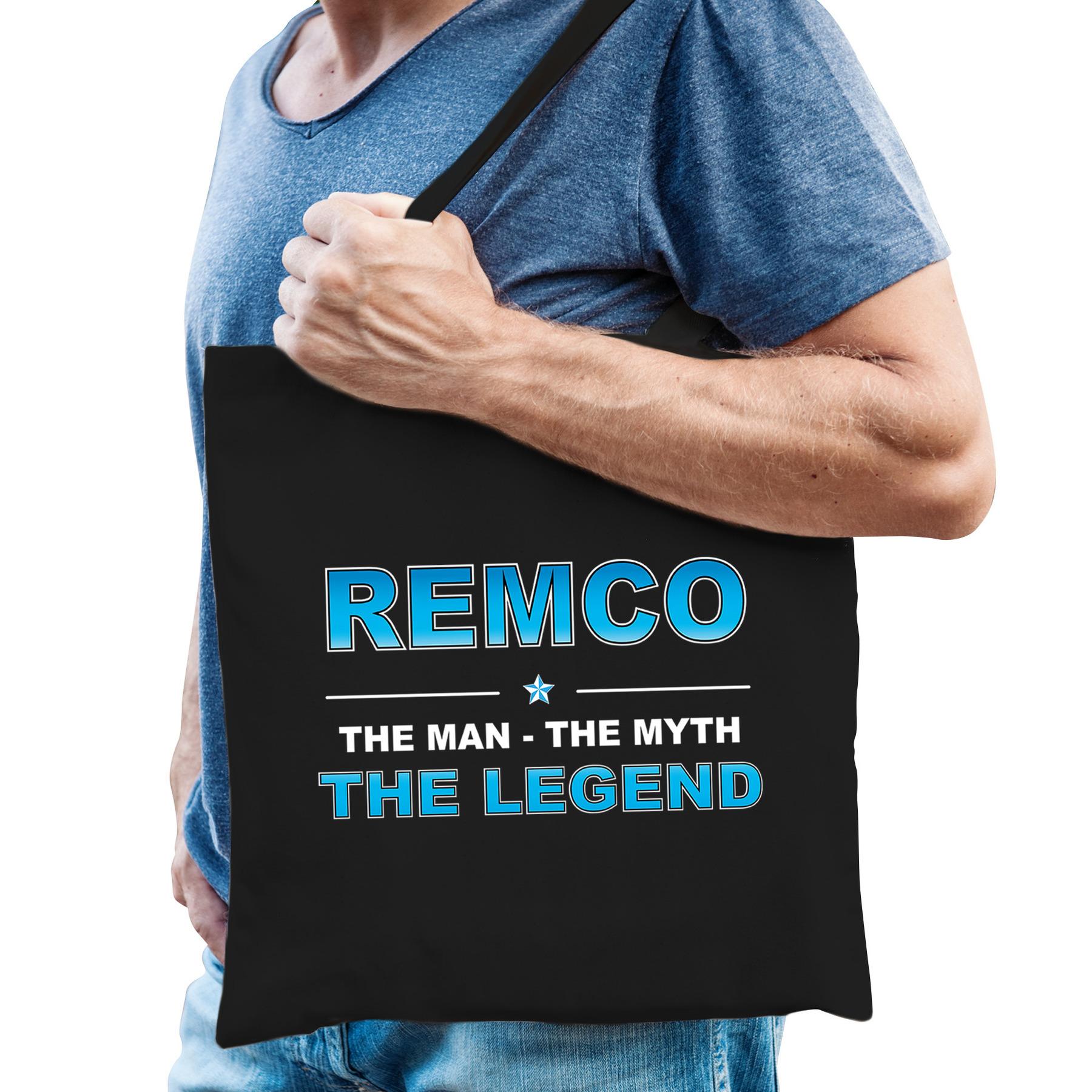Naam cadeau tas Remco - the legend zwart voor heren