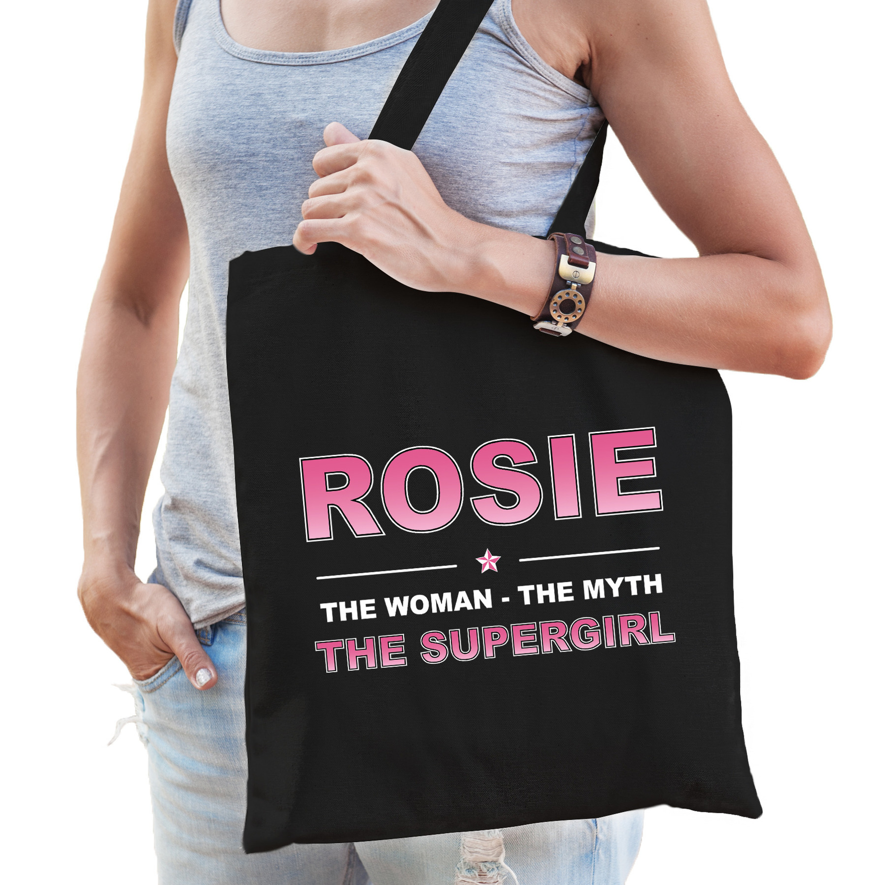 Naam cadeau tas Rosie - the supergirl zwart voor dames