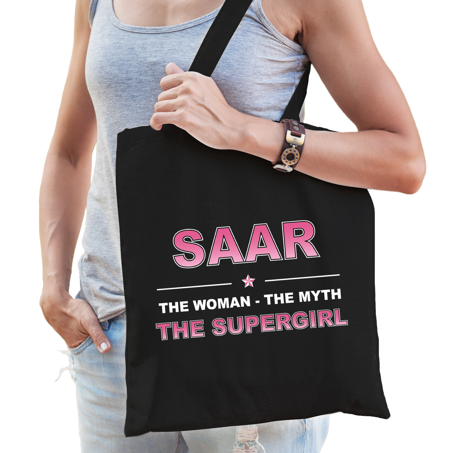 Naam cadeau tas Saar - the supergirl zwart voor dames