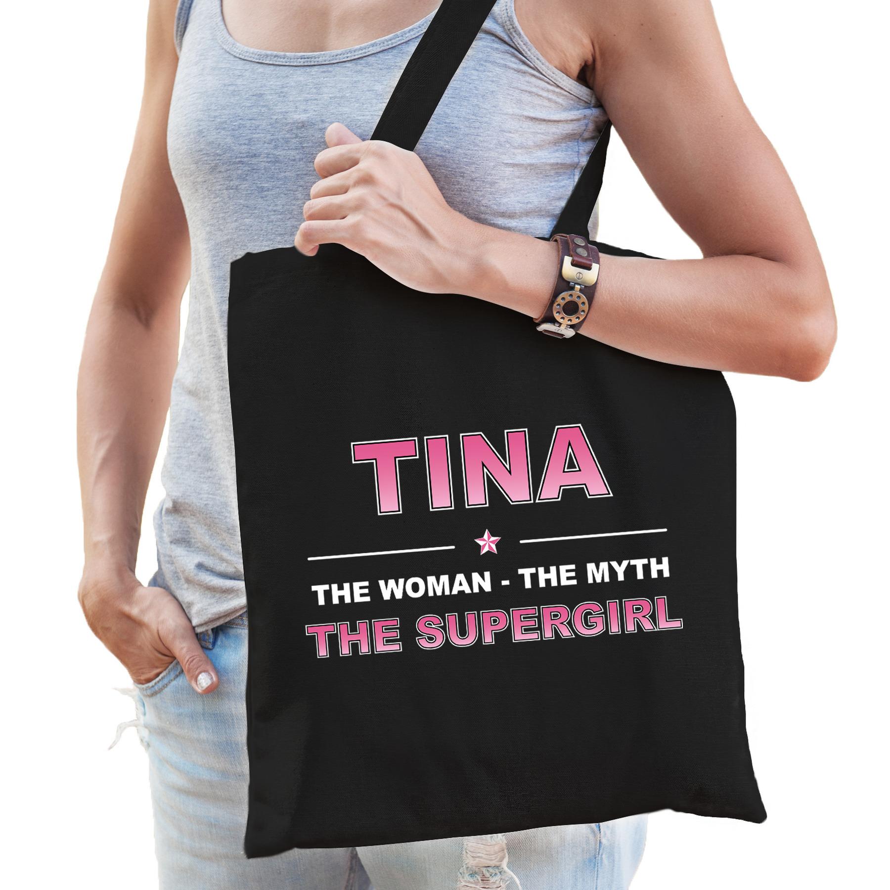 Naam cadeau tas Tina - the supergirl zwart voor dames
