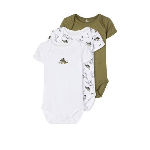 NAME IT BABY romper - set van 3 dino's groen/wit
