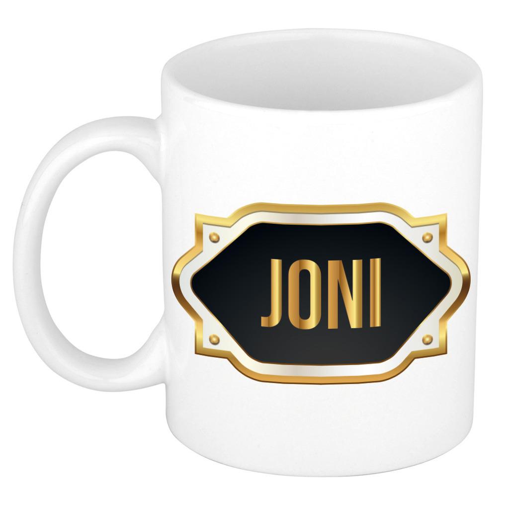 Naam cadeau mok / beker Joni met gouden embleem 300 ml