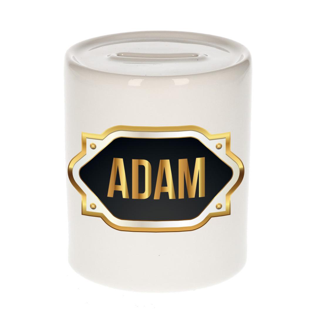 Naam cadeau spaarpot Adam met gouden embleem