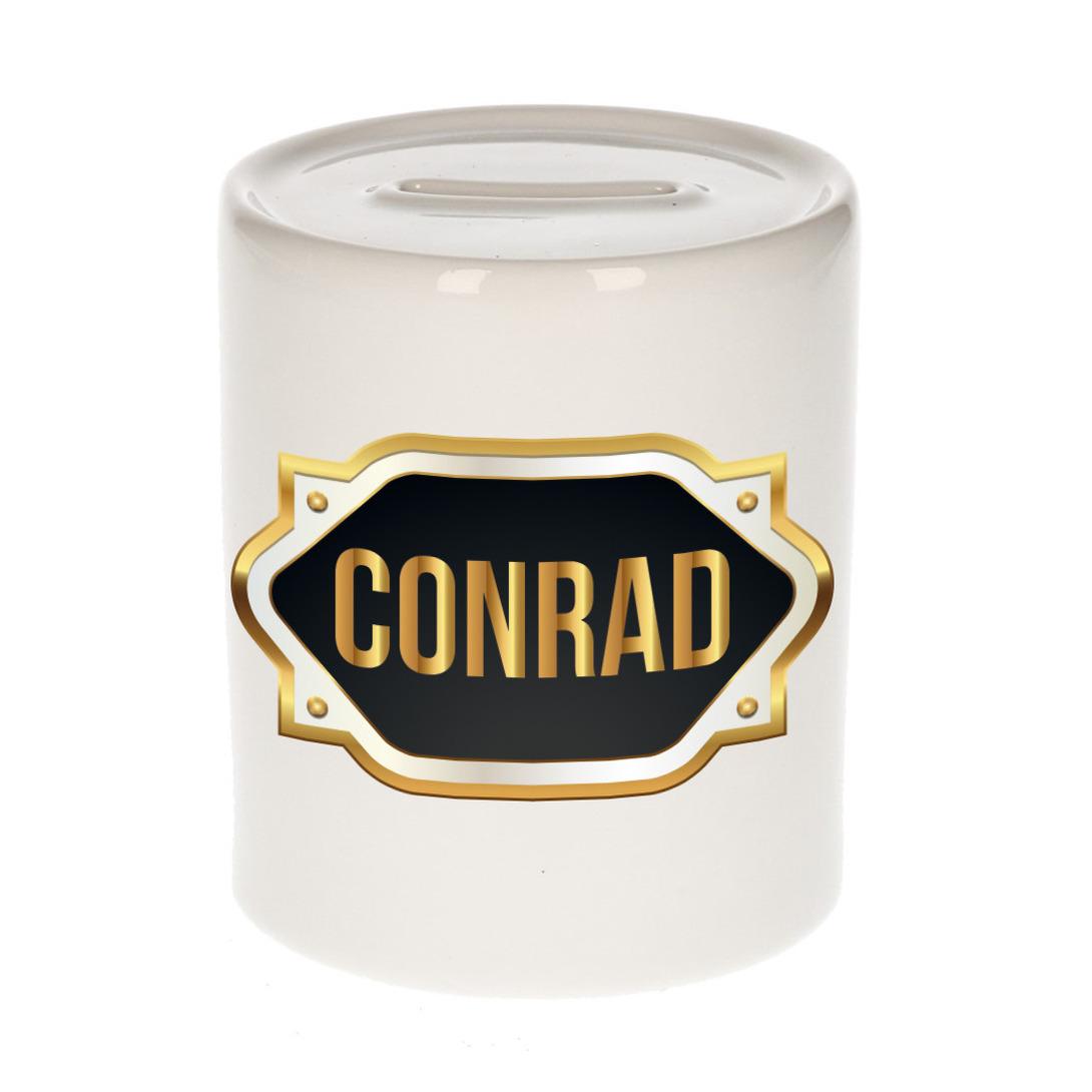Naam cadeau spaarpot Conrad met gouden embleem